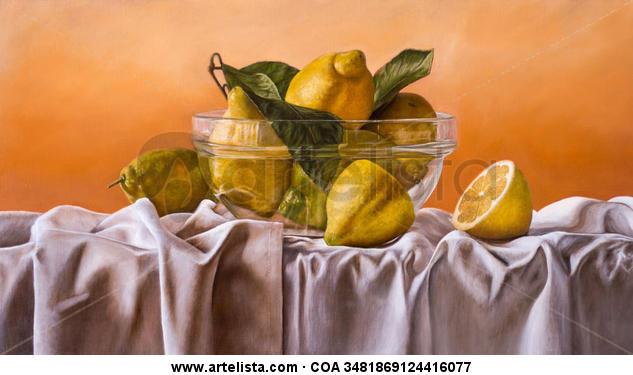 Cuenco con limones Lienzo Óleo Bodegones