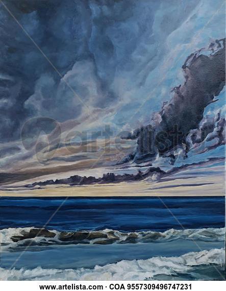 Algo de mar y mucho de cielo Marina Óleo Lienzo