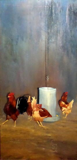Gallo con gallinas Animales Óleo Tabla