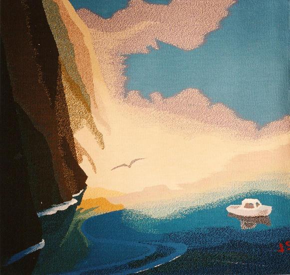 Acantilados con barca Tapices Textil