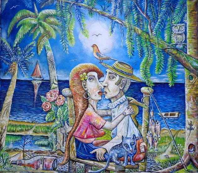 Isla del Amor Óleo Marina Lienzo