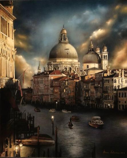 Crepúsculo en la eterna Venecia Paisaje Pastel Papel