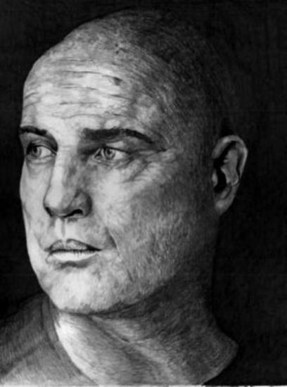 Marlon Brando Lápiz (Negro) Papel Retrato