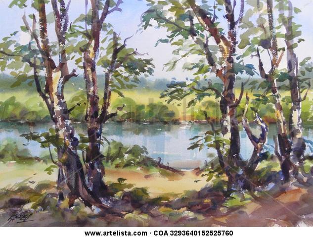 Mirando el rio Acuarela Paisaje Papel