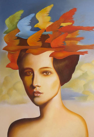 Wig of larks Tela Óleo Retrato