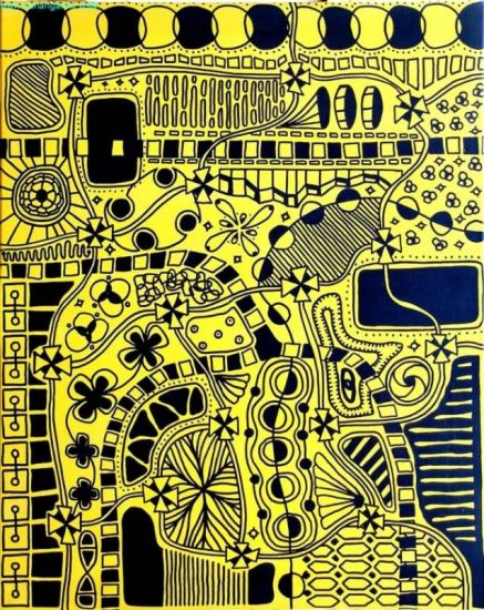 Universo en Color Amarillo Rotulador Lienzo Otros