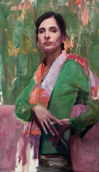 Mujer sobre fondo verde Lienzo Óleo Retrato