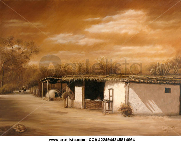 Rancho Escuela del Impenetrable  Paisaje Óleo Lienzo