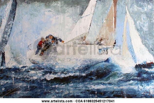 regata 2017 Lienzo Óleo Marina