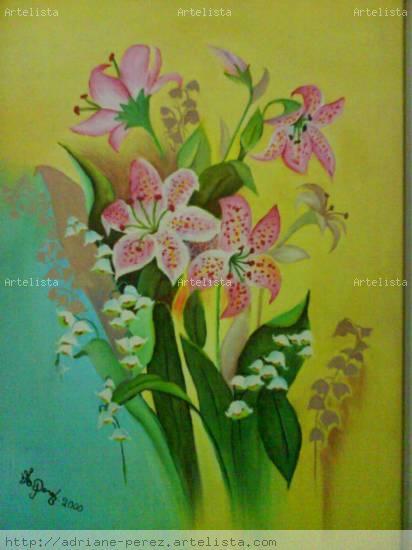 Lirios Óleo Tela Floral