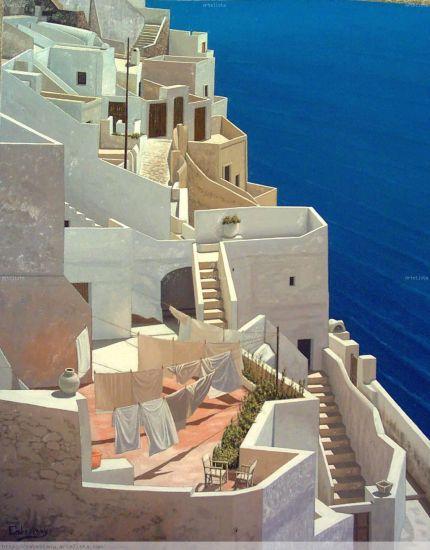 Terrazas y escaleras sobre el mar | Cuadro