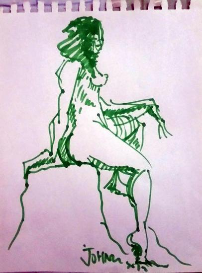 Mujer desnuda sentada Rotulador