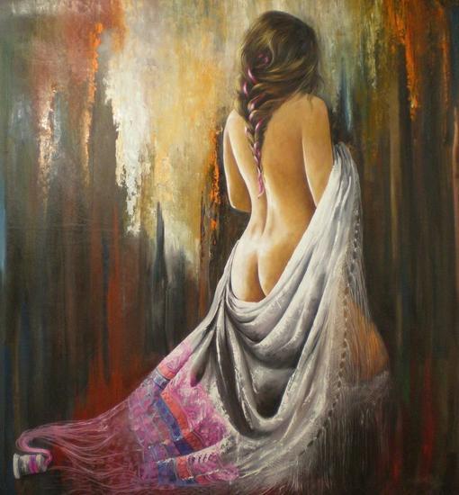 EMBRUJO DE LUNA Figure Painting Oil Textile