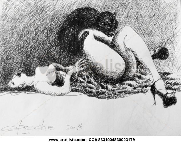 Ella y el gato. Tinta