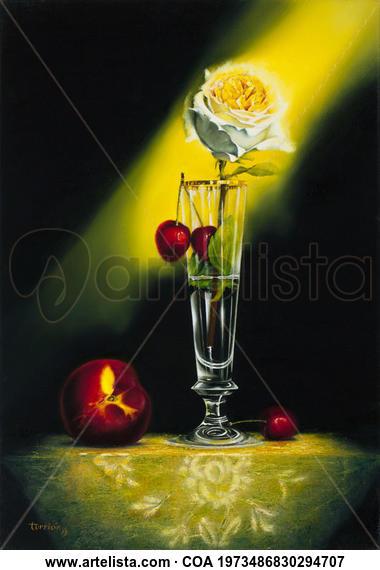 Rosa y Cerezas Bodegones Óleo Lienzo
