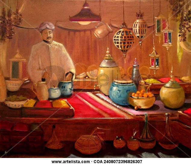 El vendedor de Especias, The Spice Seller Lienzo Óleo Bodegones