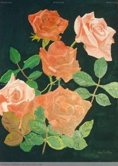Rosas Óleo Tabla Floral