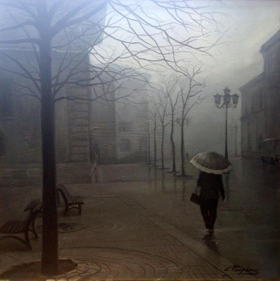 Niebla ovetense Lienzo Óleo Paisaje