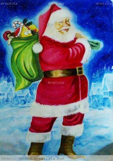 Santa Claus Óleo Lienzo Figura