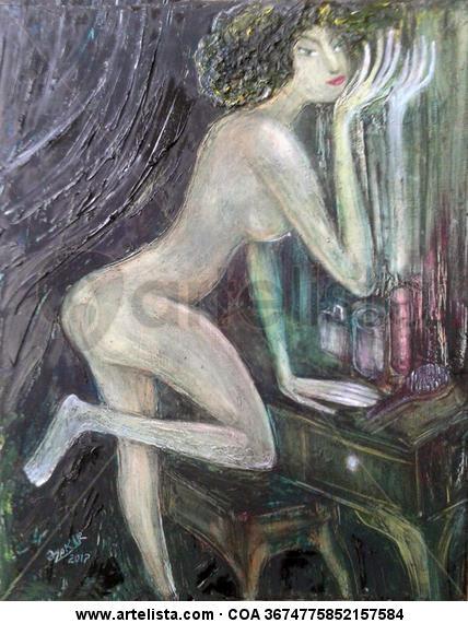 Mirror Lienzo Óleo Desnudos