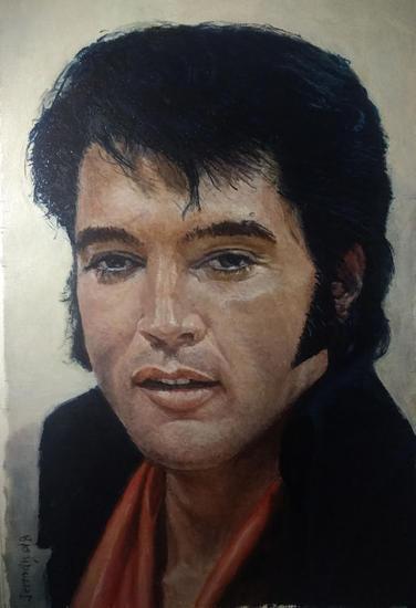 Elvis en las Vegas año 1970 Retrato Óleo Lienzo
