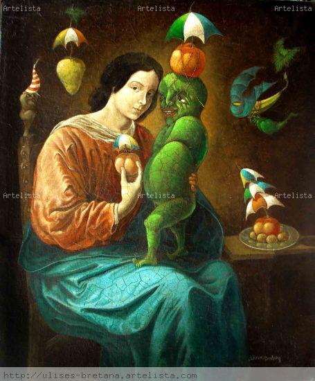 Autorretrato con Madonna Óleo Lienzo Figura