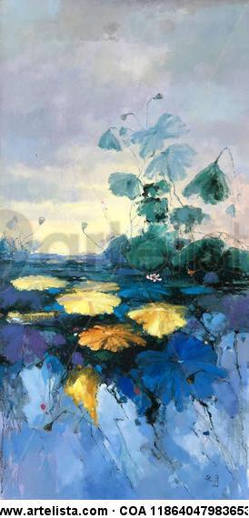 Waterlily Floral Óleo Lienzo