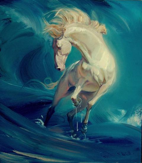 caballo de oro Animales Óleo Lienzo