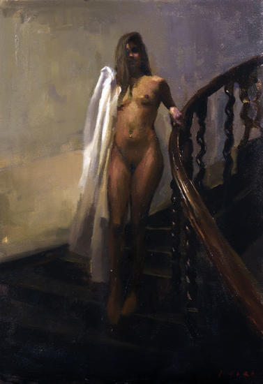 Violeta en la escalera Figure Painting Oil Canvas