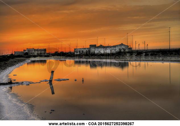 Puesta de sol en la salina Color (Digital) Naturaleza