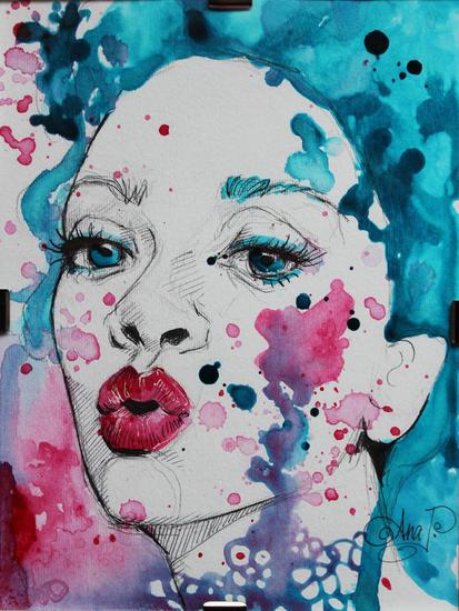 BUBBLEGUM GIRL Retrato Media Mixta Papel