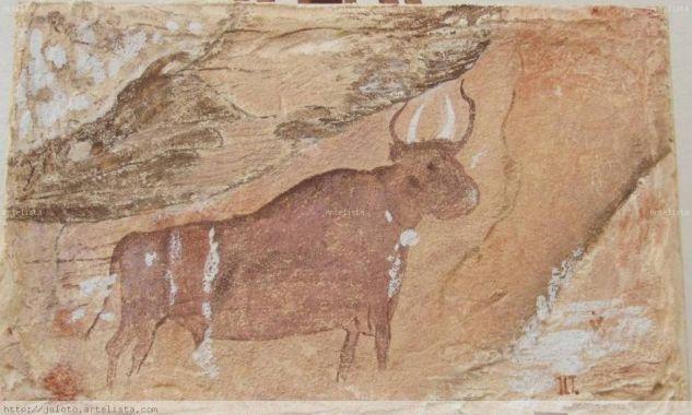 TORO REPINTADO  (CEJA DE PIEZARRODILLA) ALBARRACIN Tabla Otros Animales