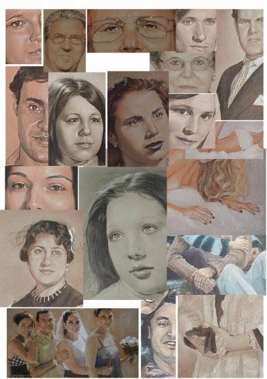 Detalle de retratos de adultos por encargo Carboncillo