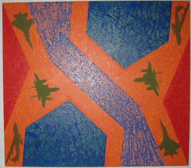 De la serie Quimeras, Encrucijada con aves verdes. Acrilico-lienzo,