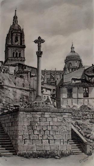 Puerta del rio-Salamanca Papel Lápiz (Negro) Paisaje