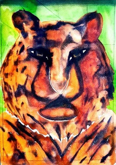 Tigre Animales Acuarela Cartulina