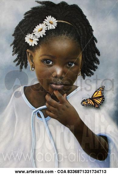 Niña de Raza Negra 86 Lienzo Óleo Retrato