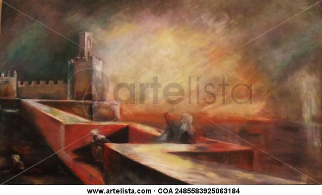 Badajoz en rojo Tabla Óleo Paisaje