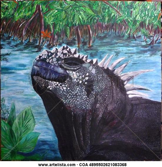 Iguana Marina de Galapagos Lienzo Animales Acrílico