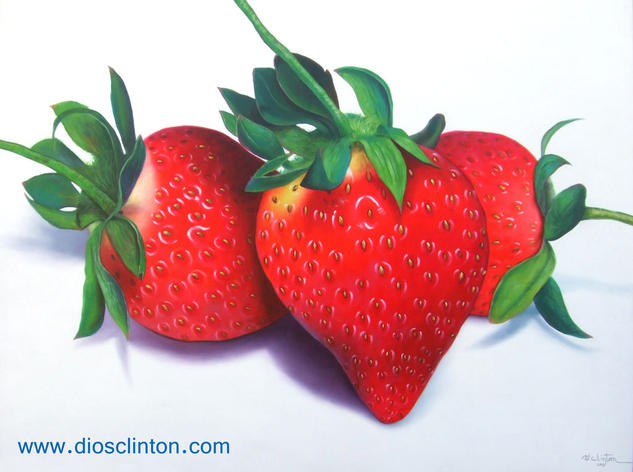Fresas al óleo Tela Óleo Bodegones