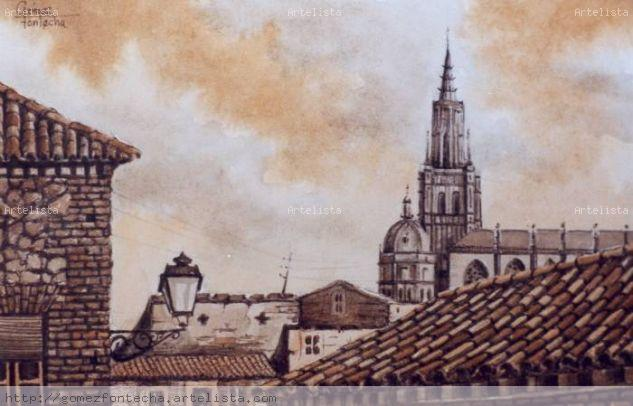 Catedral y Tejados en sepia.Toledo.