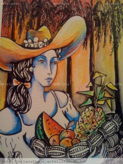 frutas tropicales , mujer