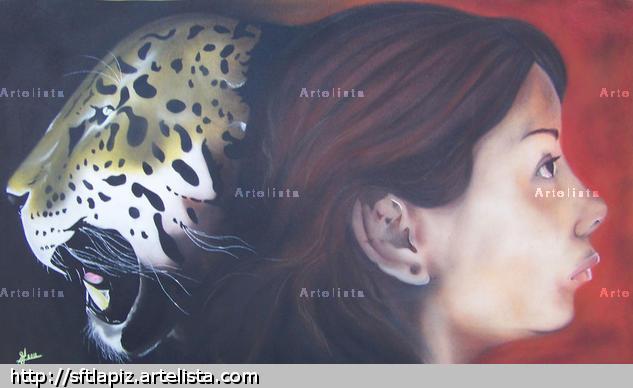 lo bipolar de una mujer Animales Lápiz (a color) Lienzo