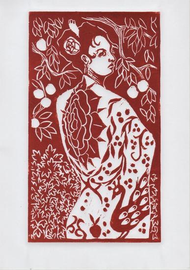 Mujer con mantón Linograbado