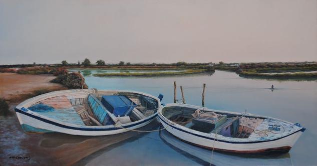 Barcas en salina y pleamar Marine Painting Panel Oil