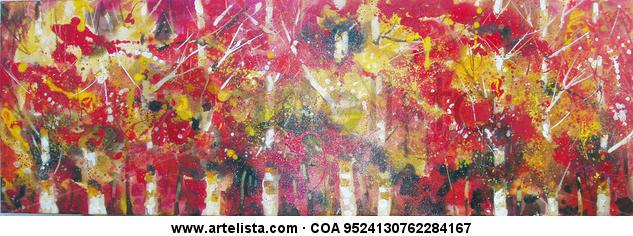 bosque en rojo Paisaje Acrílico Tela