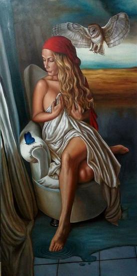 El Sueño de Alicia... Textile Oil Figure Painting