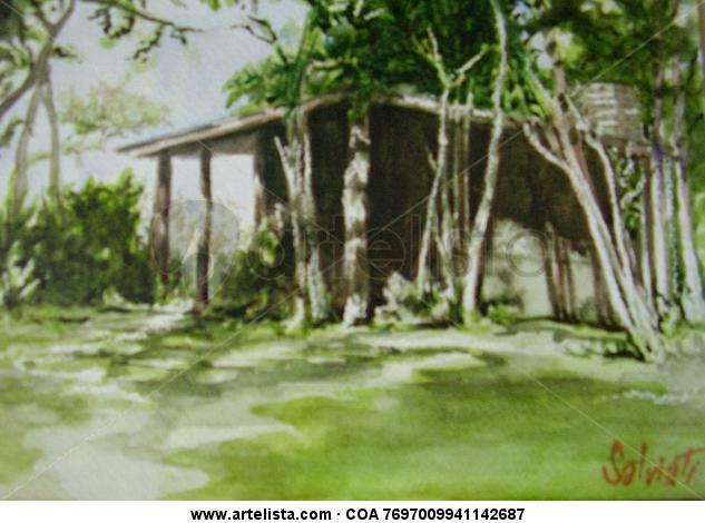 Casa de campo Cartulina Acuarela Paisaje
