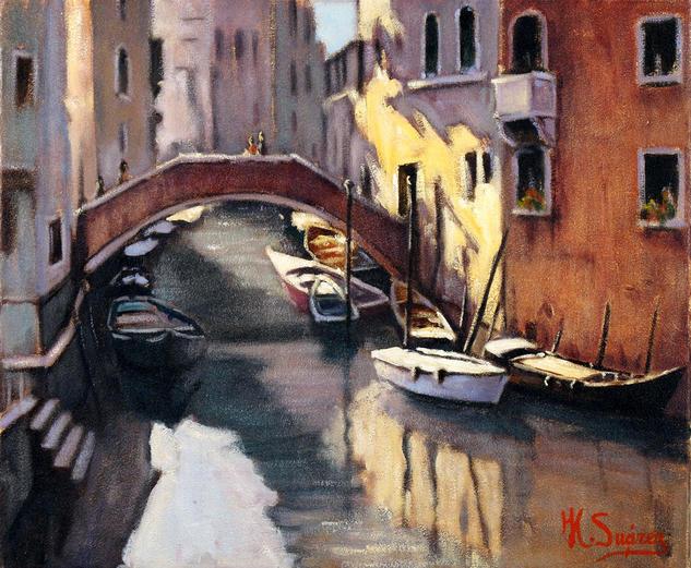 venecia.-barca blanca