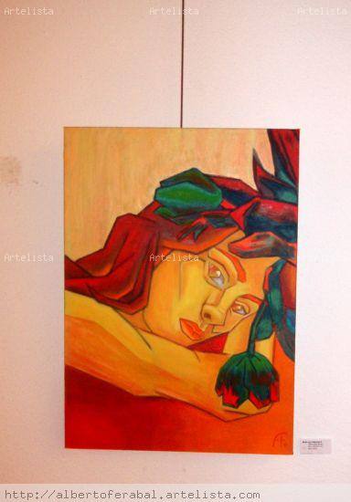 Mujer con tulipanes II Óleo Lienzo Desnudos